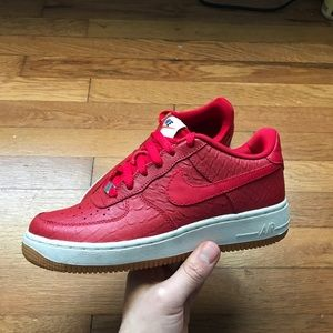 Red Nike Air Force Ones Low Tops